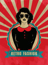 Sticker tag or label for retro fashion with young girl in heart shaped sunglasses on vintage rays red background Royalty Free Stock Image