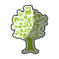Sticker tree with enviroment of recycle and ecology