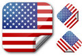 Sticker with Usa flag Stock Images