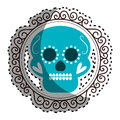 Sticker vintage border with decorative ornamental sugar skull Royalty Free Stock Photo