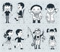 Icons children. Boys and girls Vector. illustration