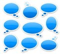 Stickers of blue glossy comics text bubbles Royalty Free Stock Photo