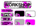 Stickers (closed, open, workshop) Stock Photo