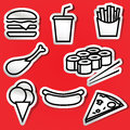 Stickers of fastfood set on red Royalty Free Stock Photo