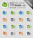 Stickers - File format icons Stock Photography