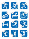 Stickers with fitness sport icons. Royalty Free Stock Photo