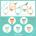 Stickers with the image of multi colored foxes and text on a background paw prints Stock Photo
