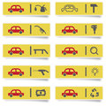 Stickers with many colored auto service icons set for web design high quality print and any other creative works Stock Image