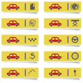 Stickers with many colored auto service icons set for web design high quality print and any other creative works Stock Photo