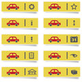 Stickers with many colored auto service icons set for web design high quality print and any other creative works Royalty Free Stock Photo
