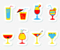 Stickers set with alcohol cocktails. Flat cartoon style collecti Royalty Free Stock Photo