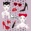 Stickers set cartoon girls and accessories - high heeled shoes, heart shaped glasses, glossy lips and lipstick Royalty Free Stock Photo