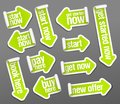 Stickers set in form of arrows - start now, pay here, get started now, buy here, new offer Royalty Free Stock Photo