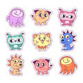 Stickers set pop art style with cartoon monster kids
