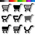 Stickers of shopping cart trolley item button illustration Royalty Free Stock Image