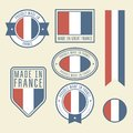 Stickers, tags and labels with France flag - badges