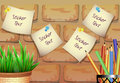 Stickers for text with a flower pot on a brick background