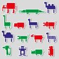 Stickers van kleuren de vierkante digitale eenvoudige retro dieren Stock Afbeelding