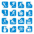 Stickers with winter sport icons. Royalty Free Stock Photo