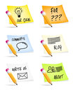 Stickies and pencils with menu icons Stock Image