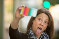 Sticking out tongue selfie woman her and taking a self portrait Royalty Free Stock Images
