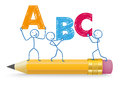 Stickman ABC Pencil Royalty Free Stock Photo