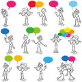 Stickman conversation talking communication set of vector stick figures having a colorful speech bubbles Stock Image