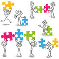 Stickman jigsaw puzzle strategy teamwork set of vector stick figures with pieces Stock Photography