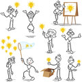 Stickman light bulb idea creative set of vector stick figures stick man having thinking plagiarism Stock Photos