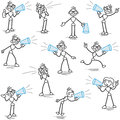 Stickman megaphone announcement shouting set of vector stick figures with making announcements screaming Stock Photos