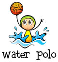 A stickman playing water polo illustration of on white background Stock Photography