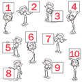 Stickman ring girl sign numbers set of vector stick figures female holding signs displaying Royalty Free Stock Image