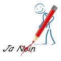 Stickman rot pen yes no Stockfotografie