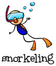 A stickman snorkeling illustration of on white background Royalty Free Stock Images