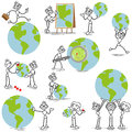 Stickman stick figure business globe set of vector figures man with pins and magnifying glass Stock Photo