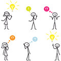 Stickman stick figure light bulb idea question set of vector figures man having ideas and wondering with bulbs and colorful speech Royalty Free Stock Photos