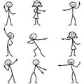 Stickman stick figure pointing showing directions set of vector figures and Royalty Free Stock Photos