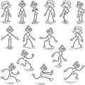Stickman stick figure standing walking running set of vector figures and Royalty Free Stock Image