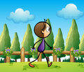 A stickman walking across the pine trees Royalty Free Stock Images