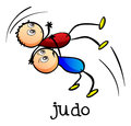 Stickmen doing judo illustration of the on a white background Royalty Free Stock Photos
