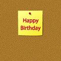 Sticky Note with Happy Birthday Message Royalty Free Stock Images