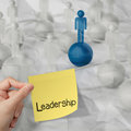 Sticky note and leadership d human social network on crumple crumpled paper background as concept Royalty Free Stock Images