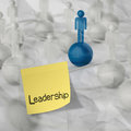 Sticky note and leadership d human social network on crumple crumpled paper background as concept Stock Photos