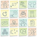 Sticky note with love pictures. Royalty Free Stock Photo