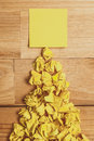 Sticky note on wooden desk look from above Royalty Free Stock Photography