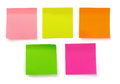 Sticky notes five color blank isolated on white Royalty Free Stock Photography