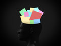 Sticky notes in head colorful black human mind on dark background Royalty Free Stock Photo