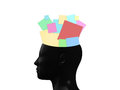 Sticky notes in head colorful black human mind isolated on white background Royalty Free Stock Photos