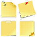 Sticky notes set of yellow isolated on white background vector illustration eps Stock Images