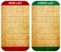 Sticky pad wish list and check list Stock Images